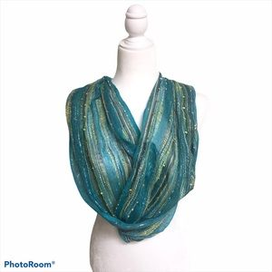 Lightweight turquoise teal green scarf infinity